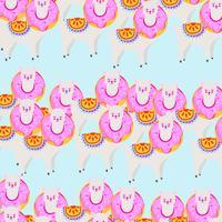Kleurrijke lama of alpaca met donut naadloze patroon achtergrond vector
