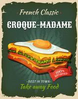 Retro poster van de snel voedsel Franse sandwich