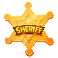 Sheriff Marshal Star gouden medaille pictogram vector