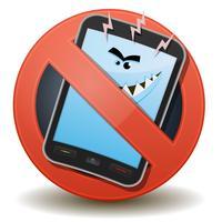 Ongezonde mobiele telefoon met schadelijke golven