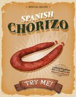Grunge en vintage Spaanse Chorizo Poster vector
