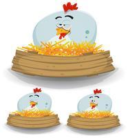 Boerderij kippennest met houten banner vector