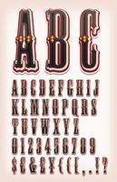 Vintage circus en westerse ABC lettertype