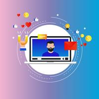 Social media marketing invloed, doelmarktconcept vector