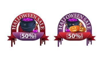halloween-uitverkoop, -50 korting, twee ronde kortingsbanners met heksenpot en pompoenhefboom vector