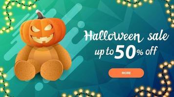 halloween-uitverkoop, -50 korting, blauwe horizontale kortingsbanner met teddybeer met jack-pompoenkop vector