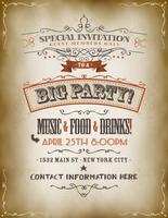 Vintage grote partij uitnodiging Poster vector