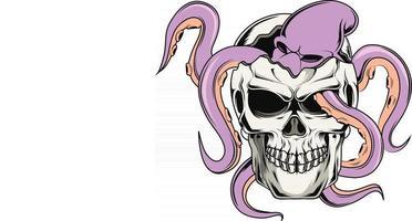26. schedel en octopus vector