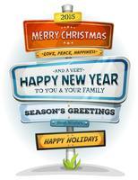 Vrolijk kerstfeest en gelukkig nieuw jaar over stedelijke wegwijzer vector