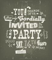 Partij uitnodiging Poster op schoolbord achtergrond vector