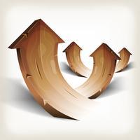 Abstracte hout stijgende pijlen