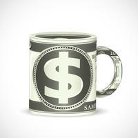 Dollar koffiemok vector