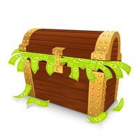 Treaure Kist gevuld met Dollar vector