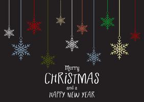 Kerstmis en Nieuwjaar achtergrond met sneeuwvlokken vector