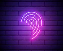 gloeiende neon vingerafdruk pictogram geïsoleerd op bakstenen muur achtergrond. id-app-pictogram. identificatie teken. raak id aan. vector illustratie