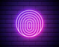 gloeiende neon vingerafdruk pictogram geïsoleerd op bakstenen muur achtergrond. id-app-pictogram. identificatie teken. raak id aan. vectorillustratie. vector