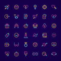 neon valentine dag elementen instellen vector