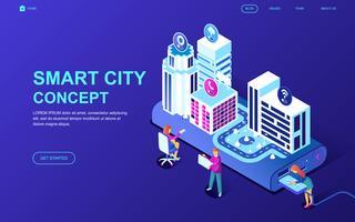 Smart City Technology Web-banner vector