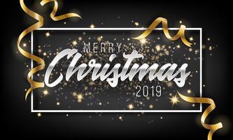 Prettige kerstdagen en gelukkig Nieuwjaar 2019 wenskaart achtergrond