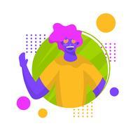 Vlakke moderne karakterjongen met de vectorillustratie van Haardogen