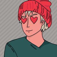 manga jongen met hart ogen vector