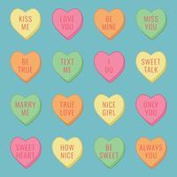 Candy Hearts met berichten vector