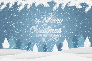Kerstmis en Nieuwjaar typografische Xmas achtergrond met winterlandschap. Vrolijke kerstkaart. Vector illustratie
