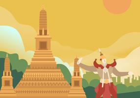 Traditionele danseres in uitzicht op Bangkok vector