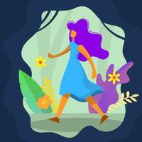 Platte schattig meisje loopt met bloem vectorillustratie