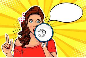 Meisje met megafoon pop-art retro vectorillustratie. Vrouw met luidspreker. Vrouw die korting of verkoop aankondigt. Speciale aanbieding, winkeltijd, protest of ontmoeting.