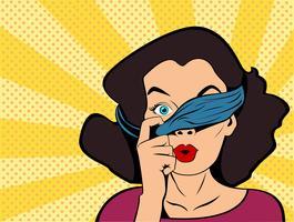 Pop-artmeisje met gebonden ogen die boven verband kijken. Nieuwsgierige vrouw verrast. Vintage reclameaffiche. Goederen en winkels
