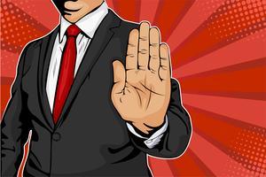 Zakenman steekt zijn hand uit en geeft opdracht om te stoppen. Popart retro komische stijl vector illustratie.