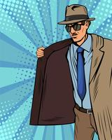 Smokkelaar verkoopt illegaal op de zwarte markt. Cloak-verkoper. Handelaar in hoed en jas. Bootlegger. Vectorillustratie in pop-art retro komische stijl.