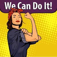 Pop-art sexy sterke vrouw symbool van vrouwelijke macht vrouw rechten protest feminisme. Vector kleurrijke pop-art illustratie in retro komische stijl. We Can Do It-poster.