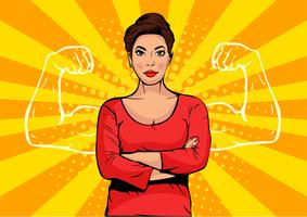 Zakenvrouw met spieren popart retro stijl. Sterke zakenman in komische stijl. Succes concept vectorillustratie.