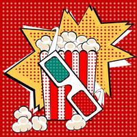 Pop-art retro stijl van het popcorn de zoete en smakelijke graan. Fastfood in de bioscoop. Gezond en ongezond voedsel. Jeugd en entertainment