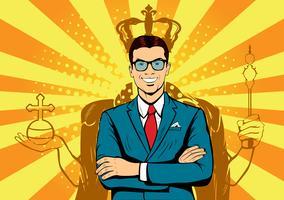 Zakelijke koning. Zakenman met schaduw als koning. Mensenleider, succesbaas, menselijk ego. Retro pop-art grappige verdrinkt illustratie.