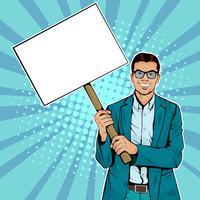 Zakenman met lege banner op houten stok. Kleurrijke vectorillustratie in pop-art retro komische stijl.