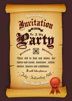 Vintage uitnodiging op perkament