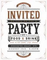 Vintage feest uitnodiging teken vector