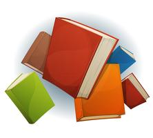 Boeken stapelen vliegen vector