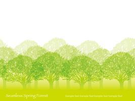 Naadloos bos in de lentekleuren met tekstruimte.