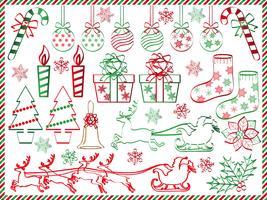 Set van geassorteerde grafische elementen van Kerstmis. vector