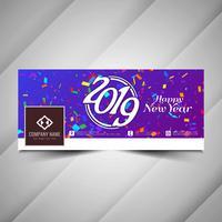 Nieuwjaar 2019 sociale media kleurrijke sjabloon voor spandoek vector
