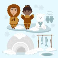 Vector Eskimo's illustratie