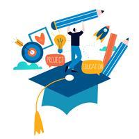 Onderwijs, online opleidingscursussen, vlakke vectorillustratie van het afstandsonderwijs vector