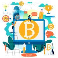 Bitcoin, blockchain-technologie, crypto-uitwisseling vlakke vectorillustratie voor mobiele en webafbeeldingen