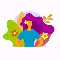 Vlakke meisjekarakter met bloem vectorillustratie