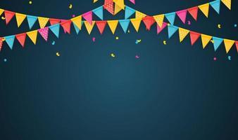 banner met slinger van vlaggen en linten. vakantie partij achtergrond voor verjaardagsfeestje, carnava. vector illustratie