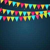 banner met slinger van vlaggen en linten. vakantie partij achtergrond voor verjaardagsfeestje, carnaval geïsoleerd op wit. vector illustratie